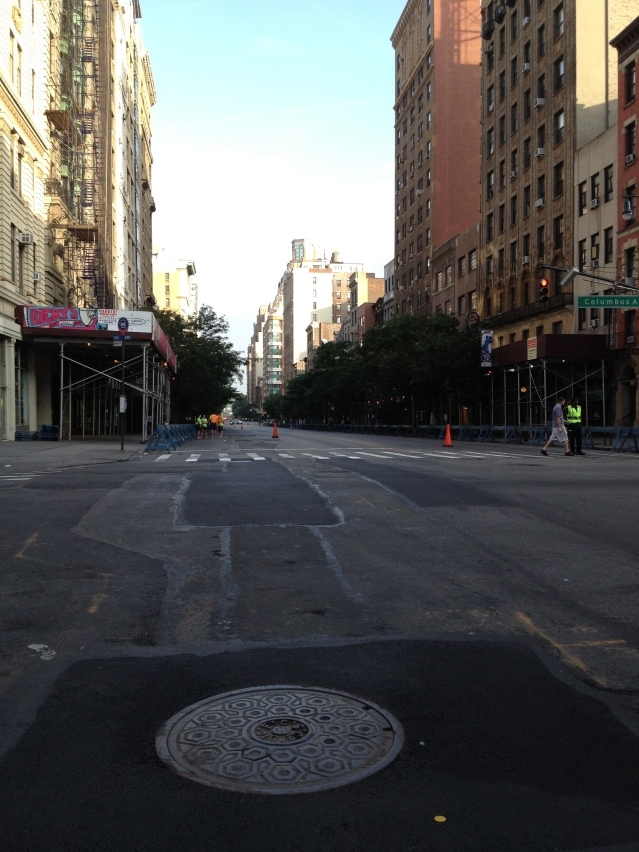 Empty run course looking west on 72nd St