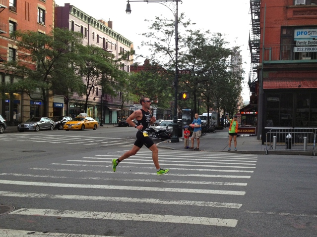 Jordan Jones, winner of the NYC Tri, in the lead on W 72nd St.