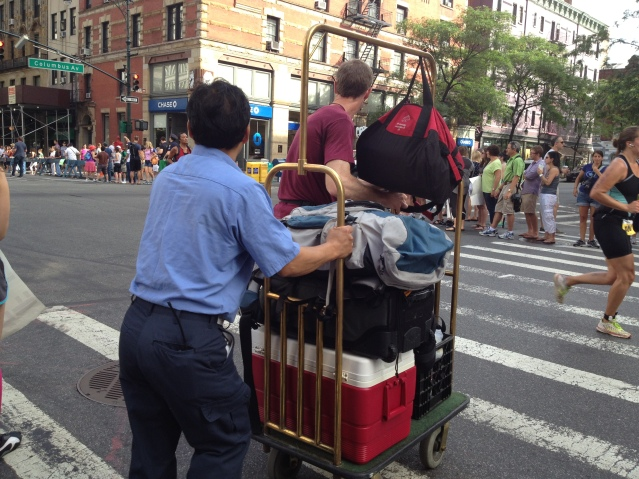 Hotel cart taking over the course. Because it's NYC...